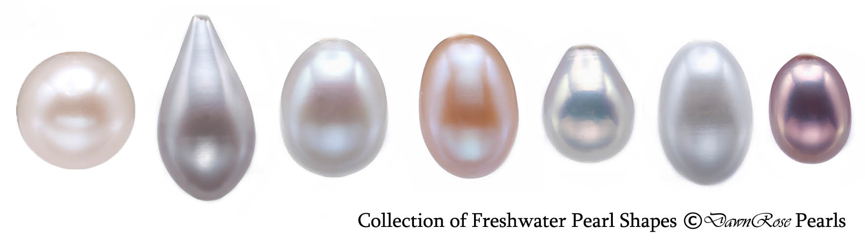 Collection of freshwater pearls shapes